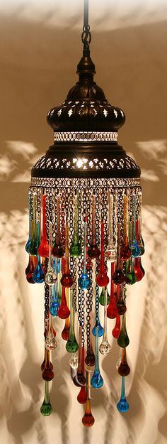 Morocco Chandelier with Colored Tear Drops - Maroc Désert Expérience tours http://www.marocdesertexperience