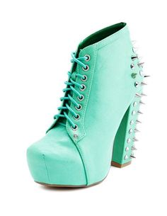 Spiked Back Thick Heel Bootie ... haha omg I could just imagine hurting myself, but still they look cool