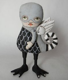 Monster Doll-- Original Contemporary Folk Art-- Made to order within a week