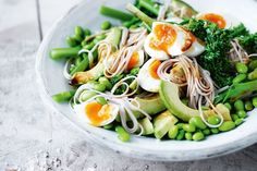 BROCCOLINI AND SOBA NOODLE SALAD WITH WASABI DRESSING AND GINGER SALT Healthy Japanese Recipes, Healthy Dinner Recipes, Asian Recipes, Easy Recipes, Vegetarian Dinners, Savoury Recipes, Skinny Recipes, Amazing Recipes, Summer Recipes