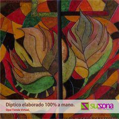 #Díptico Hojas de Otoño. Diseño exclusivo de Opal.  Medidas de cada cuadro:  Alto: 60 cm  Ancho: 30 cm  Grueso: 3.5 cm  Autor: Diana Jiménez $700,000 COP