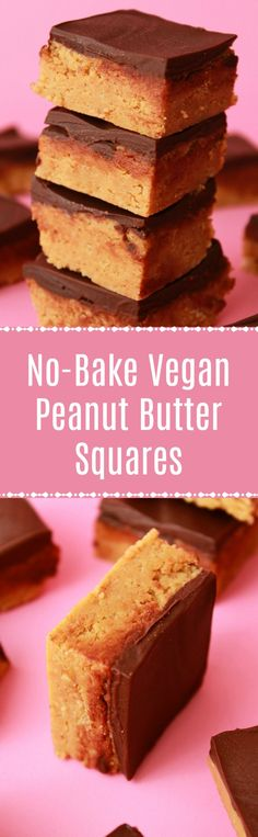 Rich and delicious vegan peanut butter squares. Simple 4-ingredient recipe packed with peanut butter and crushed cookies, and topped with vegan chocolate! #vegandessert #vegan | lovingitvegan.com