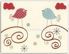 Nursery print Baby Room Decor Birds...Love birds. $17.00, via Etsy.