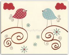 Nursery print Baby Room Decor Birds...Love birds. $17.00, via Etsy.