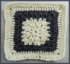 Granny Square #74 Puff Stitches row 1 and 2...Full Pattern written with and without repeats.