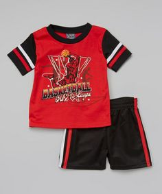 Look what I found on #zulily! Red 'Basketball' Raglan Tee & Shorts - Infant & Toddler by USAthlete #zulilyfinds