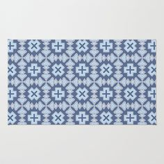 Veracruz Rug by Juliagrifol Designs, blue #design #pattern #rug #geometric #