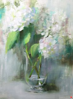 White Hydrangeas by Pamela Blaies Oil ~ x Hydrangea Painting, Oil Painting Flowers, Acrylic Flowers, Watercolor Paintings Abstract, Watercolor Artists, Abstract Oil, Watercolor Illustration, Painting Art, Still Life Flowers