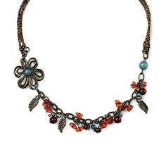 "-LAZY DAISY- ""This detailed floral necklace features delicate bronze leaves and rich crimson and orange beads with a touch of azure on an antique bronze chain. It's beautiful on it's own or layered with a longer necklace."" http://LMAWBY.mialisia.com"