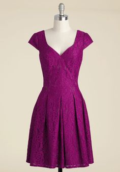 Stay For the Sunset Lace Dress. Feel free to linger over dinner in this cocktail dress - the best part of the evening is about to begin! #purple #modcloth