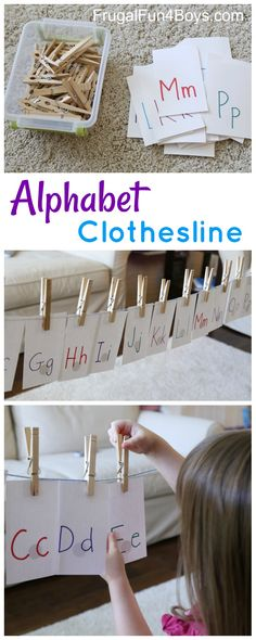 Alphabet Clothesline! Preschool Alphabet Activity - Frugal Fun For Boys and Girls