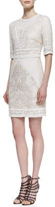 $4,295, White Lace Party Dress: Monique Lhuillier Embroidered Lace Cocktail Dress. Sold by Neiman Marcus. Click for more info: https://lookastic.com/women/shop_items/35537/redirect