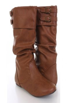 Tan Faux Leather Slouchy Strapped Buckled Boots