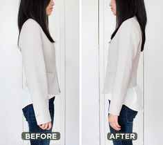 diy alterations tutorial: slimming & shortening blazer sleeves. via extrapetite.com.