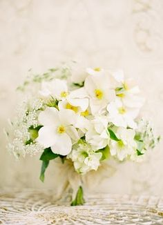 Wedding Ideas: dainty-white-bouquet with queen anne's lace and rare poppies
