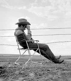 """James Dean on the set of """"Giant"""",1956"""