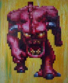 "Saatchi Online Artist Ryan Carlin; Painting, ""old school knightmares"" #art"