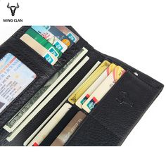 9816863de4 Mingclan férfi pénztárca valódi bőr hosszú kuplung pénztárcák Coin tehéntej  dupla erszényes karcsú divat férfi pénztárcák Carteira kártya tartó