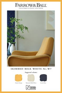 Skimmed Milk White by Farrow Wall Colors, Paint Colors, Colours, Farrow And Ball Living Room, Skimmed Milk, Colour Schemes, Colour Combinations, Eco Friendly Paint, Farrow Ball