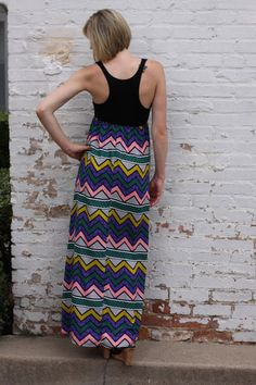 Printed Zigzag Maxi Dress via Sunday Champagne $47