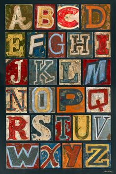 Vintage Alphabet - Wall Art   Kids Wall Art   Nursery Decor   Childrens Decor