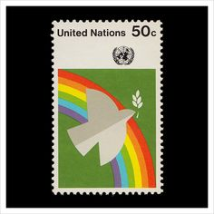 UN Peace Dove & Rainbow — United Nations Postage Stamp Design, Postage Stamps, Africa Flag, Art Postal, Peace Dove, Rainbow Art, United Nations, Letter Art, Grafik Design
