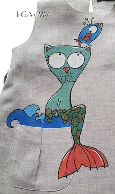 Girl linen painted dress children's fashion Hand by InGAartWork