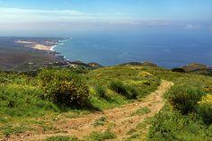 Guincho beach and Cascais coastline seen from Sintra hills  - Portugal