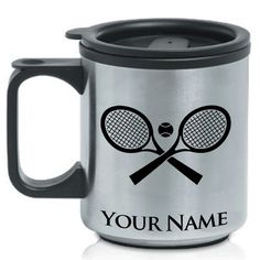 Personalized Coffee Travel Mug - CROSSED TENNIS RACKETS - Custom Engraved for Free * More info could be found at the image url.