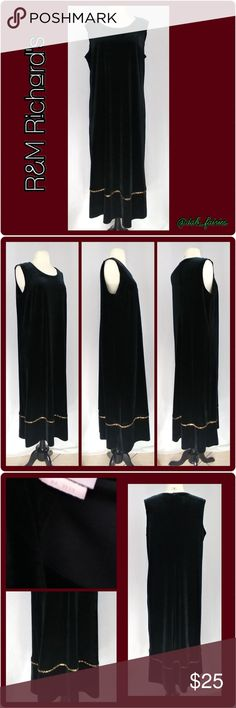 r&m richards soft velvet black dress w/ gold trim Beautiful r&m richards soft velvet black dress w/ gold trim. Dress size 16 women. Beautiful dress for a wedding or a special occasion. Message me for more details, offers or personalized bundles. Thank you for looking #r&mrichards #dress #formal #classy #black #goldtrim #size16 R & M Richards Dresses