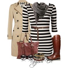 Black and white striped belted dress and tan coat Cute Dresses, Casual Dresses, Skirt Fashion, Fashion Outfits, Striped Dress, Belted Dress, Mommy Style, Dress With Boots, Work Wardrobe