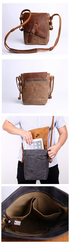 Canvas Messenger Bag, Brown Leather Canvas Bag, Crossbody Bag, Unisex Messenger Bag - Khaki - Canvas Bags with Leather Trim - Handcrafted Brown Leather Crossbody Bag, Leather Purses, Leather Backpack, Leather Bags, Backpack Purse, Satchel Bag, Crossbody Bags, Canvas Messenger Bag, Canvas Shoulder Bag