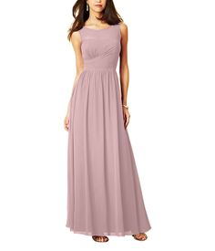 Stylist NotesI love the illusion neckline and ruched waistline that pulls across the ribcage to really emphasize that hourglass shape. -ShannonDescriptionAlfred Angelo Style 7298LFull length bridesmaid dressHigh illusion neckline over sweetheart bodiceNatural waist, shirred a-line skirtChiffonLongThis beautiful full length bridesmaid dress features a sheer, illusion yoke in the scooped neckline. The fitted bodice meets an a-line skirt at the natural waistline.
