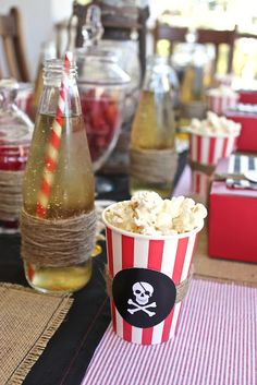 pirate-themed drink bottles and snack container