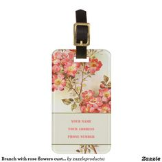 Branch with pink rose flowers personalized #luggagetag