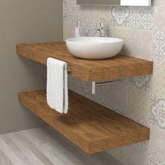 Small Bathroom Furniture, Modern Bathroom Decor, Bathroom Design Small, Bathroom Styling, Bathroom Organisation, Bathroom Shelves, Wood Bathroom, Lavabo Diy, Cool Shower Curtains