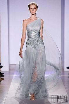 Zuhair Murad S/S 2013: Long dress in silk tulle, light blue with embroideries #Couture