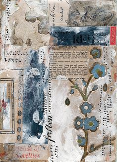 by dailypoetics, via Flickr great use of a collaged ground with areas highlighted using the gesso.