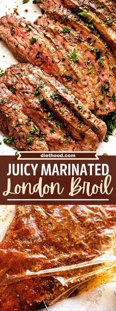 Juicy Marinated London Broil Steak is simply amazing! Seasonings, Worcestershire sauce, soy sauce and apple cider vinegar combine to make the most delicious London Broil you've ever tasted! Rib Recipes, Steak Recipes, Diet Soup Recipes, Grilling Recipes, Dinner Recipes, Cooking Recipes, Apple Recipes, Recipies, London Broil Steak