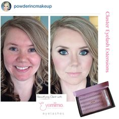 """#BeforeAndAfterMakeup by @powderincmakeup   Beautifying client with our cluster #eyelashextensions - product used by @powderincmakeup is style #EXT01 , #EXT02 and/or #EXT05  Our """"Cluster Eyelash Extension"""" is made with the same type of hair being used for salon quality eyelash extension, except this one has been pre-set to be cluster for faster and more economical way to apply."""