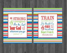 Kids and Nursery decor, Kids digitial bible verses, Train up a child, be strong and courageous, Boys Playroom art. kids printable wall art