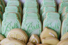 Vintage or Summer-Themed Reception Idea. Fresh-squeezed lemonade and sugar cookies shaped like Mason jars and lemons. -