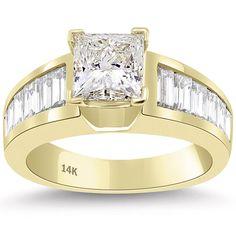 2.65 Carat K-SI1 Certified Princess Cut Diamond Engagement Ring 14k Yellow Gold #LioriDiamonds #DiamondEngagementRing