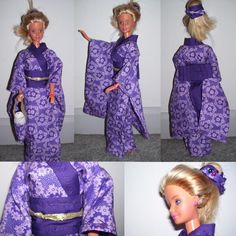 The kimono pattern is from, where there also many beautiful doll clothes I could hardly hope to have the patience and skill for at present. I did make the collar part a bit longer and thicker. Diy Barbie Clothes, Barbie Clothes Patterns, Clothing Patterns, Diy Clothes, Barbie Stuff, Barbie Costume, Barbie Dress, Doll Dresses, Doll Crafts
