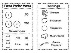 Kindergarten Dramatic Play - Pizza Parlor Menu - Use this menu to set up a pizza restaurant in your dramatic play area. Provide pizza ingredients made from different colors of felt. Children can pretend to be hungry diners and pizza chefs as they order off the menu and put together different pizza toppings for each other. Once I print, I color the toppings side with marker.