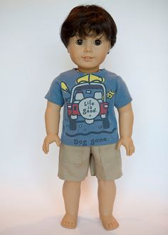 American Boy doll upcycled Life is Good T shirt - blue on Etsy, $10.00