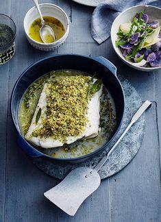 Rezept:   Skrei mit Pankokruste und lila Kartoffelsalat