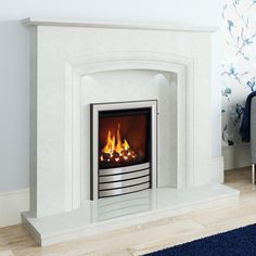 NEW Felicia Micro Marble Surround - Shown in Manila micro marble with an Elgin & Hall Utopia gas fire in Chrome finish with Devotion trim