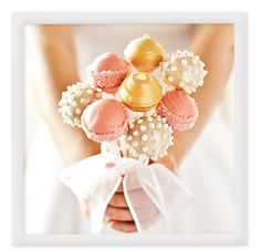 Love the sheen and color of these pink and gold cake pops.