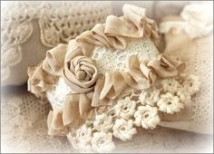 Vintage Lace Cuff Bracelet - No Price Listed - This is a beautiful  Cuff Bracelet that has  been handmade with a  rosette, tons of ribbon and  vintage lace ~  It is on a covered bendable  wire for easy adjusting ~ (Only One Photo) http://www.katiesrosecottagedesigns.com